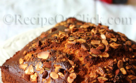 Eggless cake with choco chips and nuts