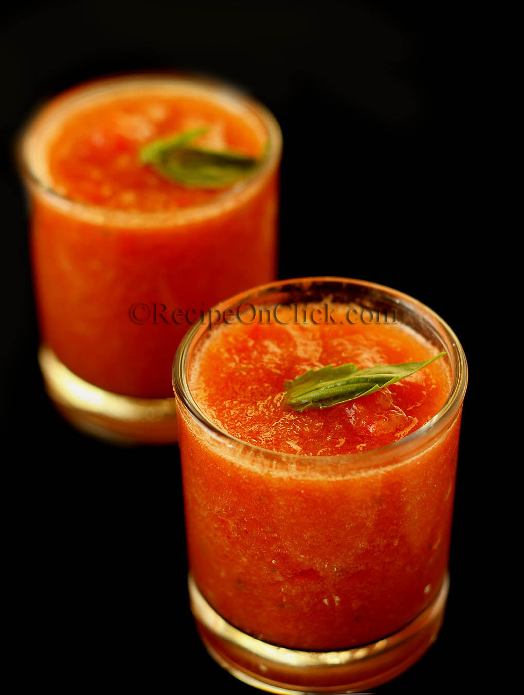 Gazpacho soup with Indian flavors